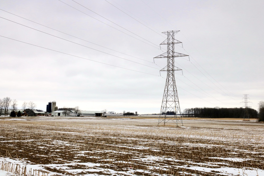 This electrical corridor is the only proposed route for the high speed rail corridor from London to Toronto. It will pass close to many barns and other farm buildings along the way, including this farm near Embro.
