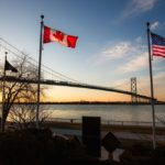 A view near the Canadian end of the Ambassador Bridge, which connects Windsor and Detroit and is considered one of North America's busiest trade routes. (Steven_Kriemadis/iStock/Getty Images)