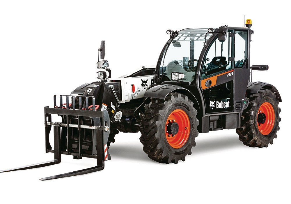 Bobcat's new V923 also has a maximum height of 23 feet, but it has 130 h.p. and a 9,000 pound lift capacity.