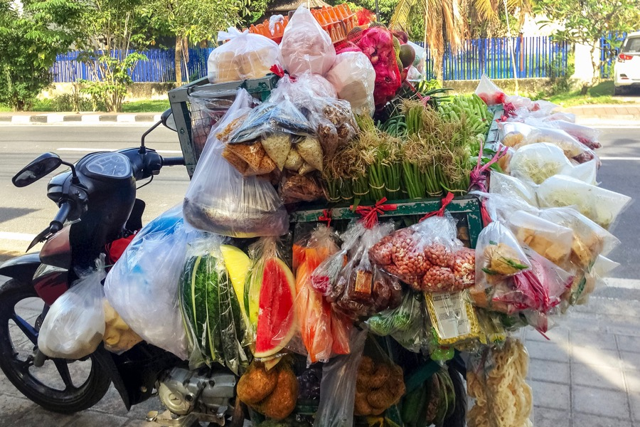File photo of snacks, produce and assorted street food loaded on a motorbike in Bali, Indonesia. (Lina Moiseienko/iStock/Getty Images)