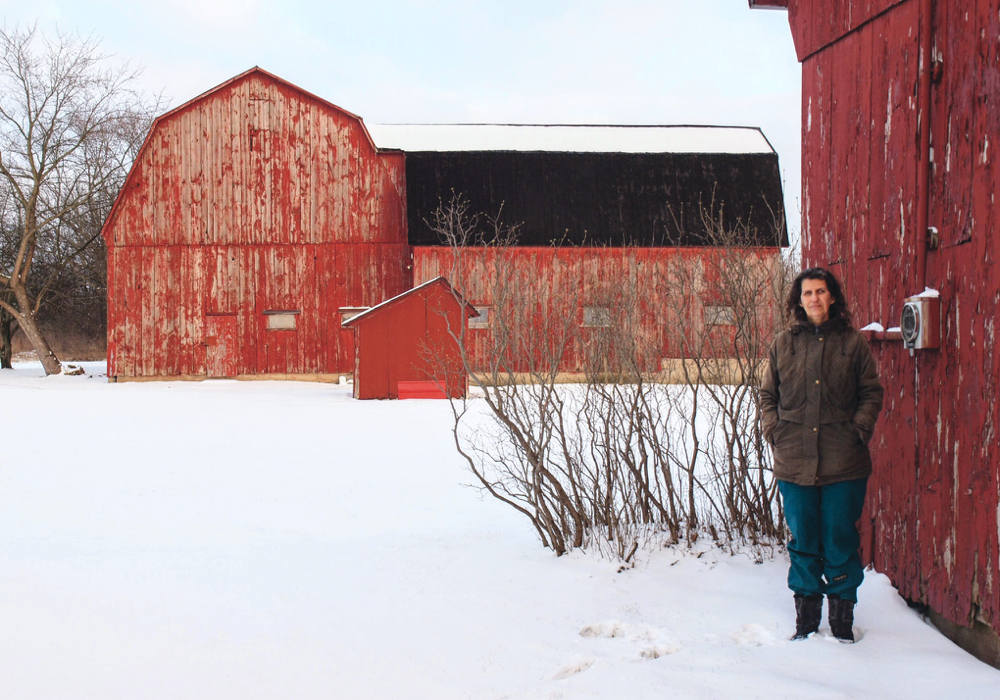 Marsha Rempel, with some of the barns on her farm.