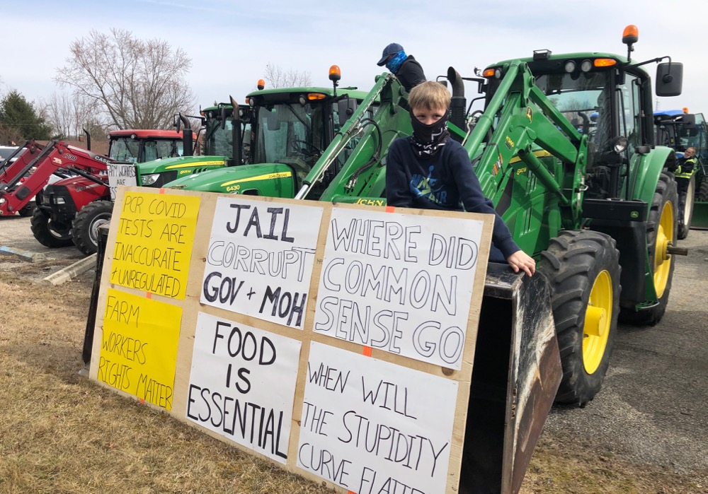Austin Kulielka,7, perches on his father's tractor during the Ontario's Garden Farmer tractor protest in Simcoe.