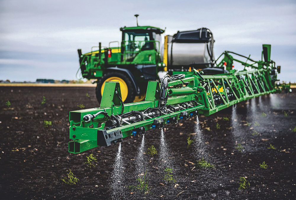 With 36 cameras and up to a 120-foot steel boom, the new See and Spray option on Deere's latest sprayers can reduce burn-off spray use by more than 75 per cent. The machines are limited to 12 miles per hour for application accuracy. From the time a camera sees a weed it is 200 milliseconds until spray is applied to it.